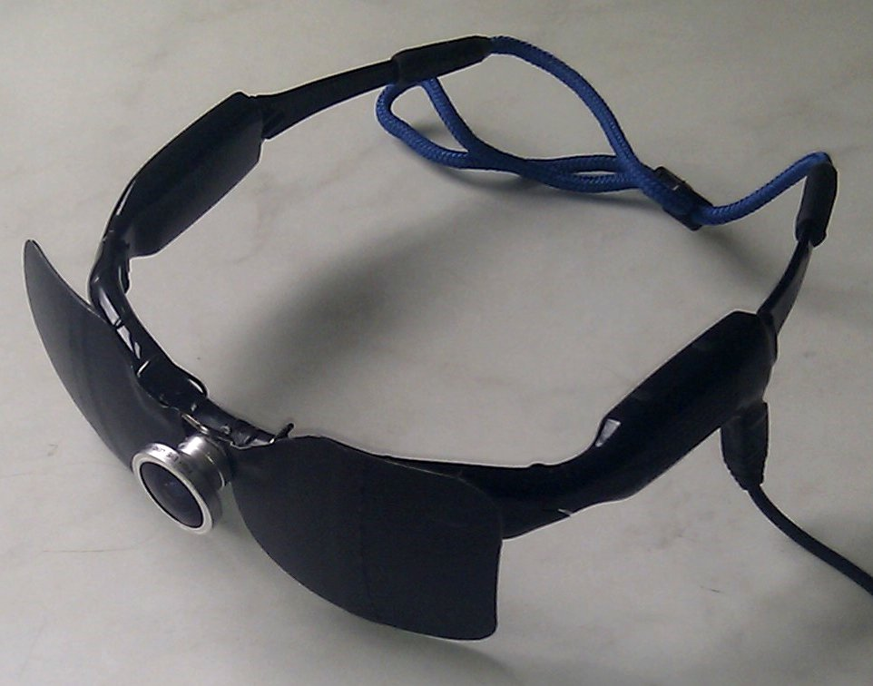 9b01bdf048d Opaque clip-on sunglasses attached to camera glasses